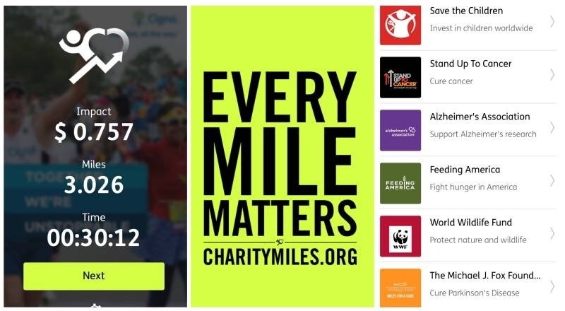charity miles fitness exercise app