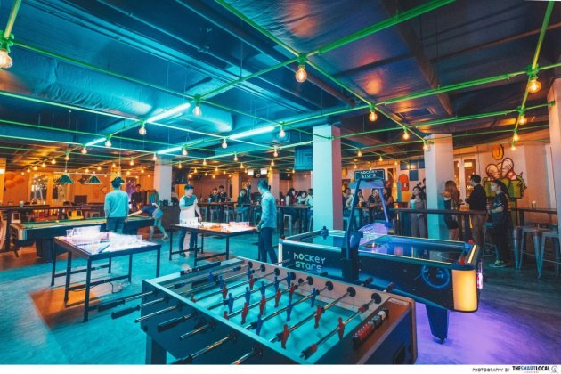 Level Up Singapore Arcade Bar foosball air hockey pool table games