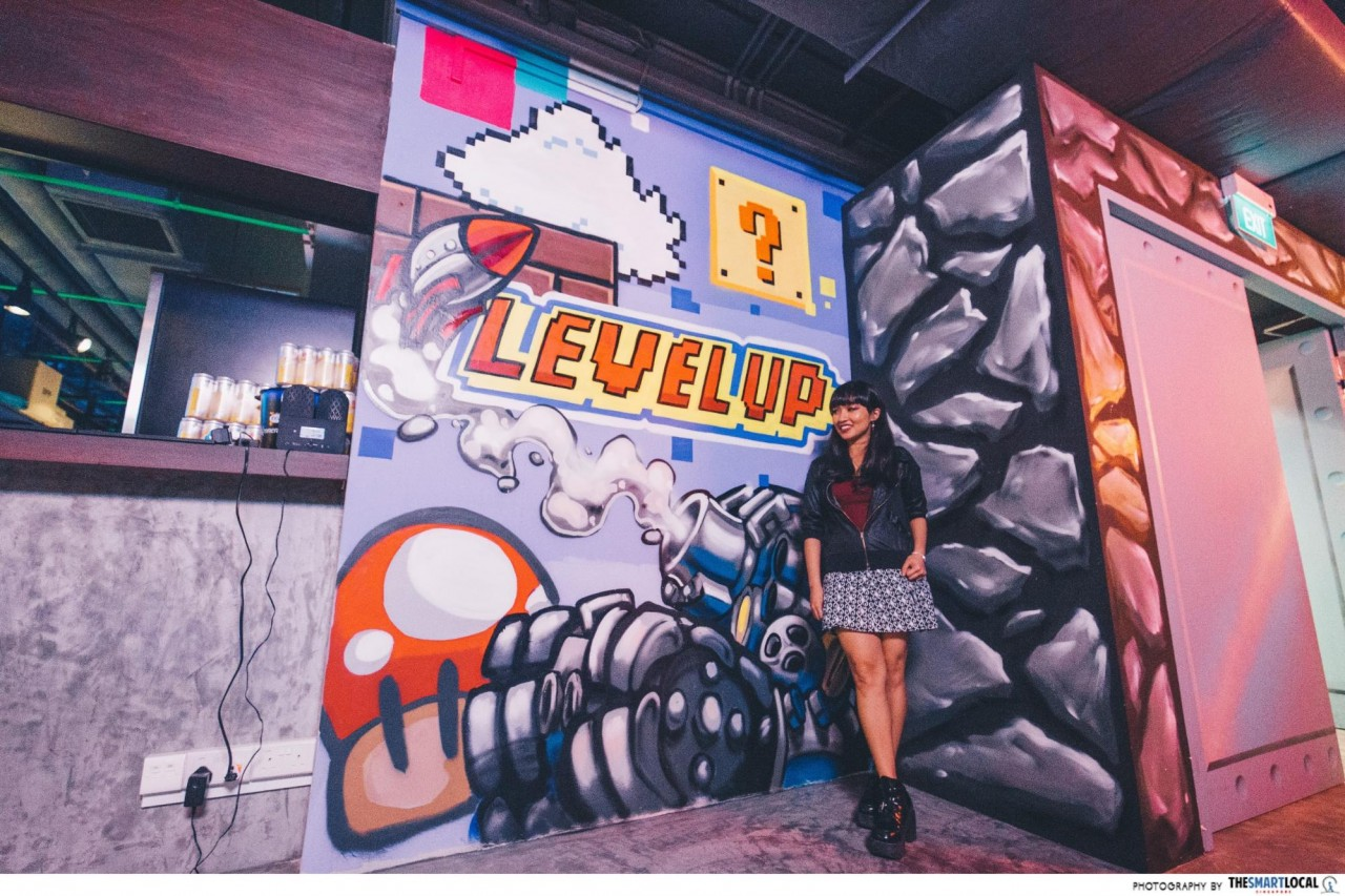 Level Up Singapore Arcade Bar wall mural graffiti