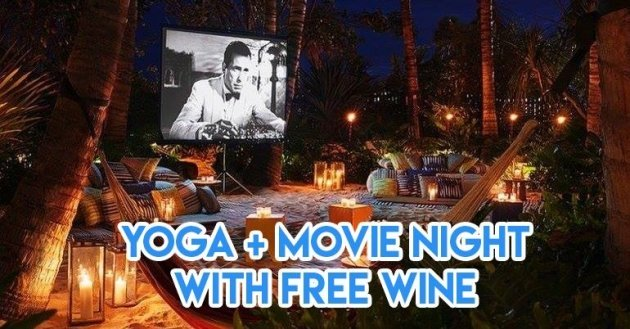 yoga and movie night with free wine