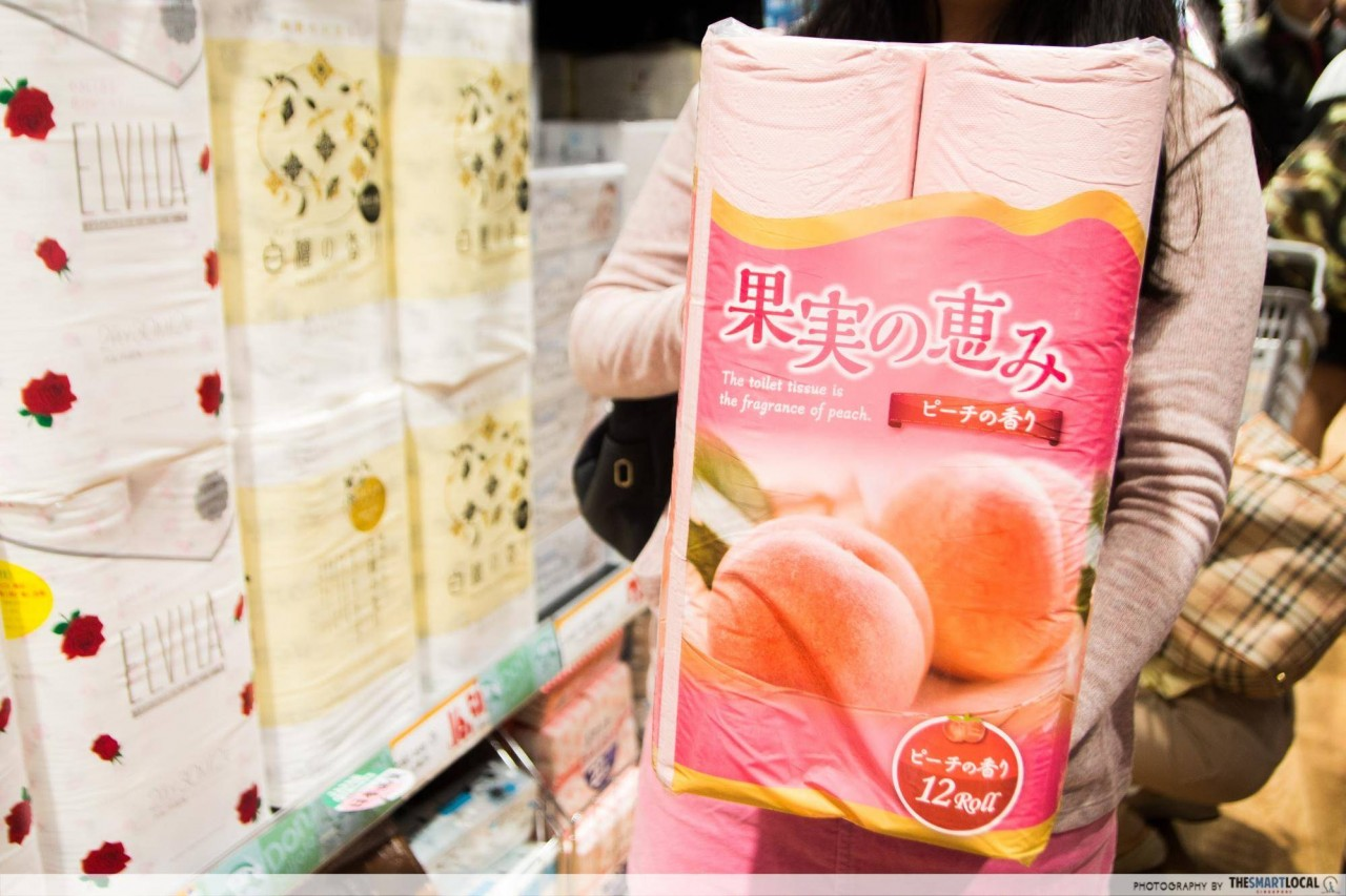Pink peach-scented toilet paper Don Don Donki