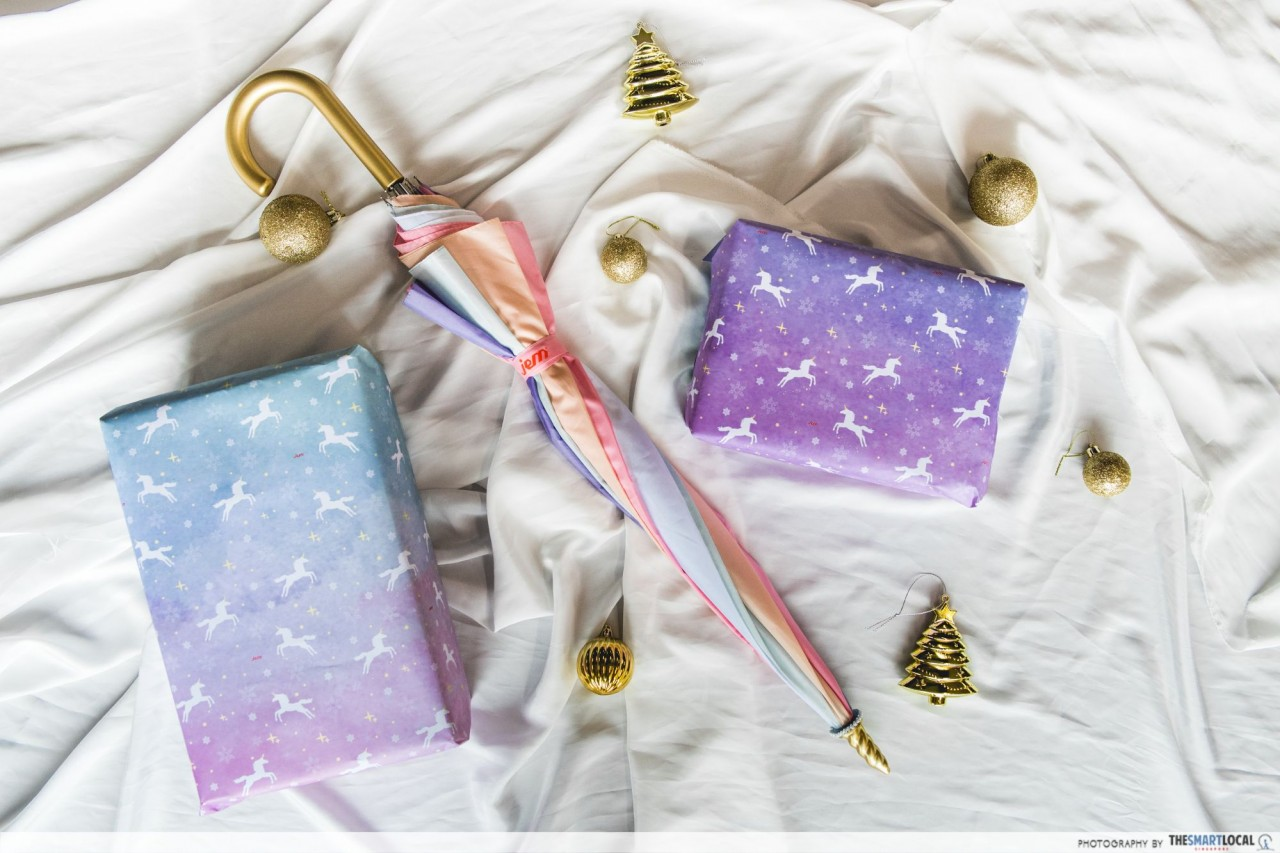 Jem unicorn umbrella and wrapping paper