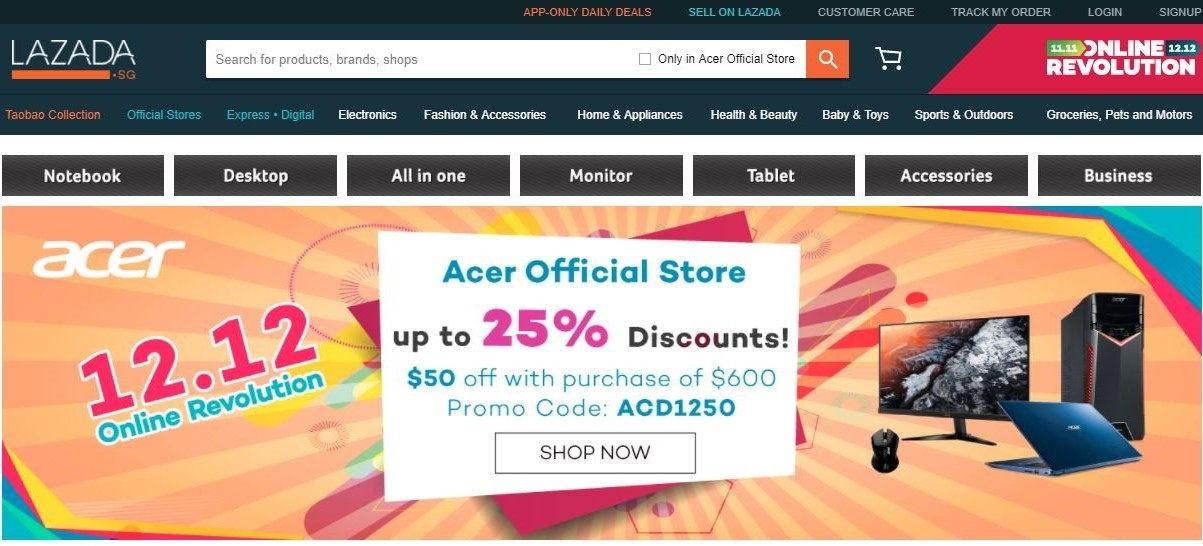 Acer 12.12 online sale Lazada Online Revolution cheap IT gadgets