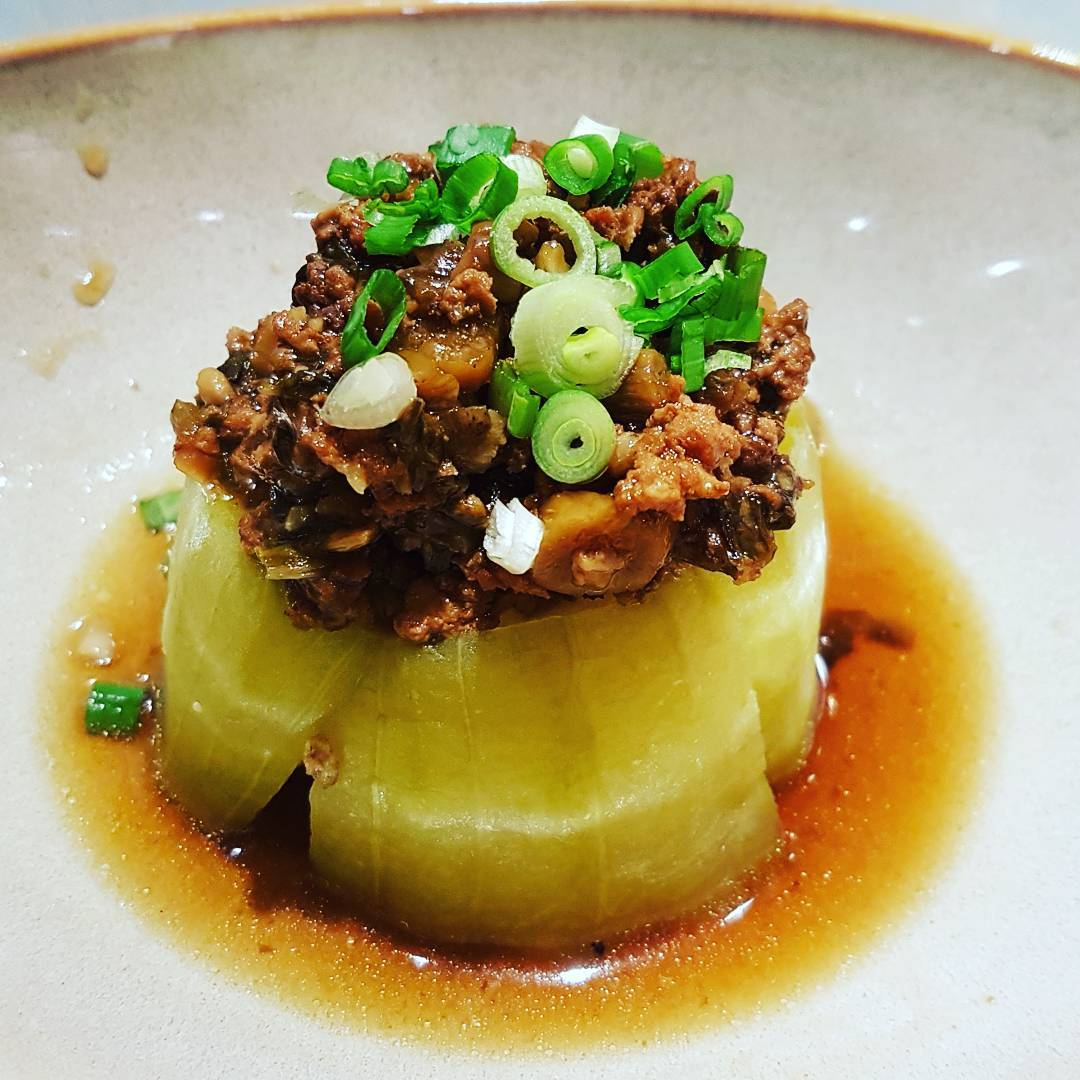 A new year, a fresh diet (47) - Steamed hairy gourd with preserved vegetable minced pork