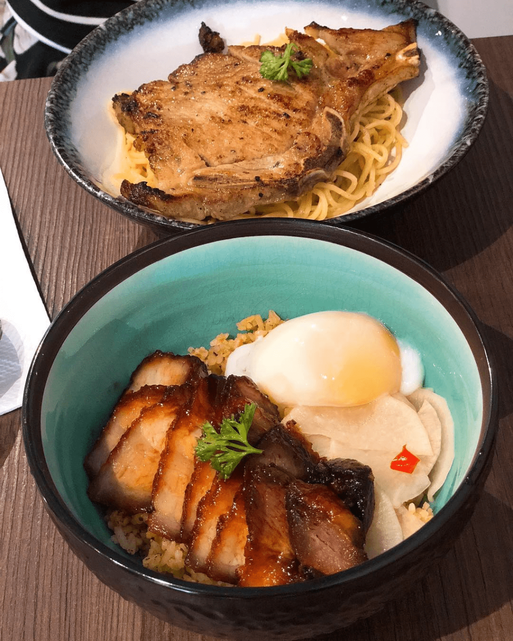 A new year, a fresh diet (25) - Pork loin aglio olio and char siew rice bowl