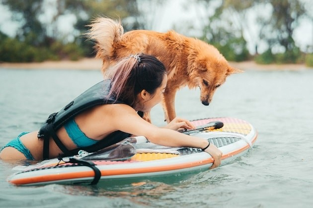 Stand up paddleboarding with dog