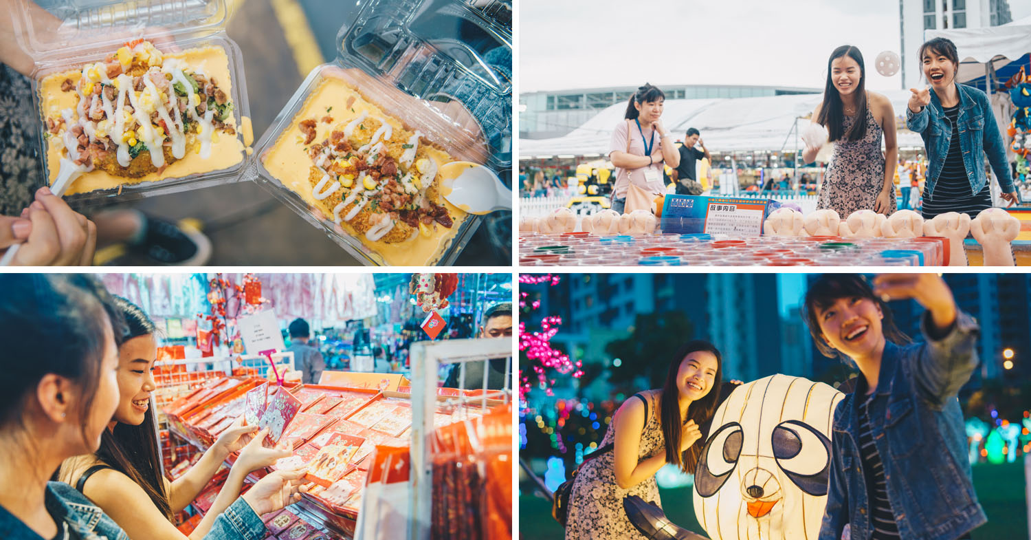 A CNY Bazaar Has Popped Up Beside Punggol MRT With Rainbow Food, Carnival Games And Sakura Photo-Ops