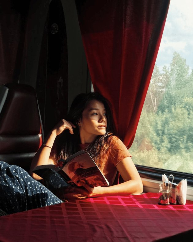 Looking out of window in trans-siberian train