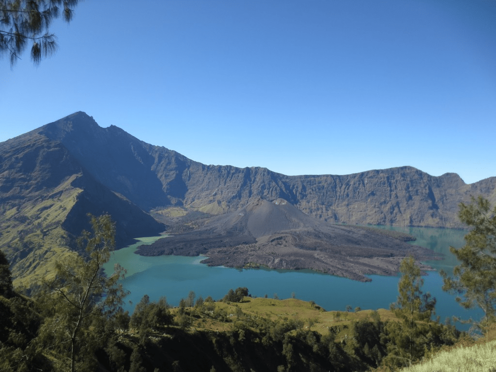 view from summit of mount rinjani, indonesia