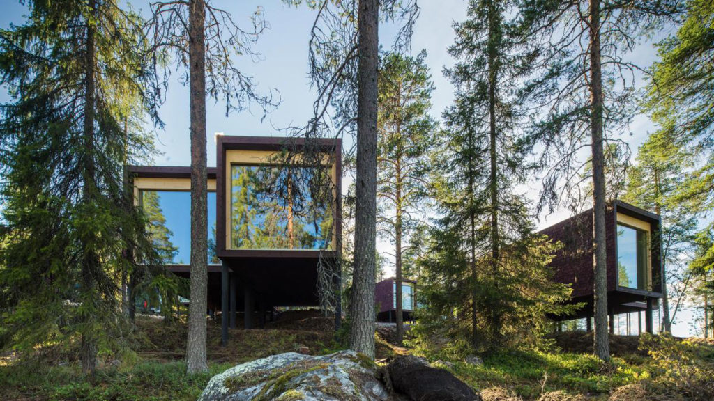 arctic treehouse hotel finland forest glass cabin