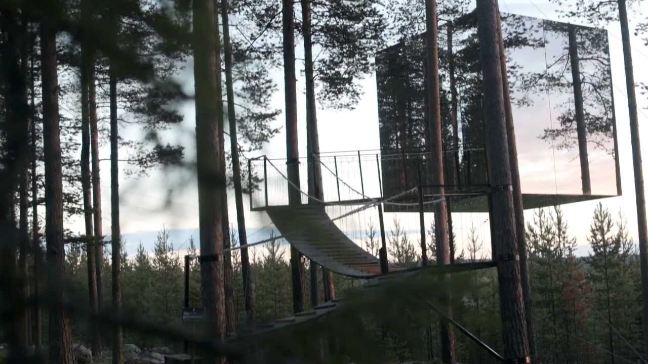 sweden treehouse mirror forest