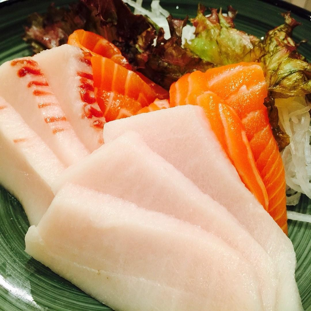 sashimi - swordfish and fatty salmon