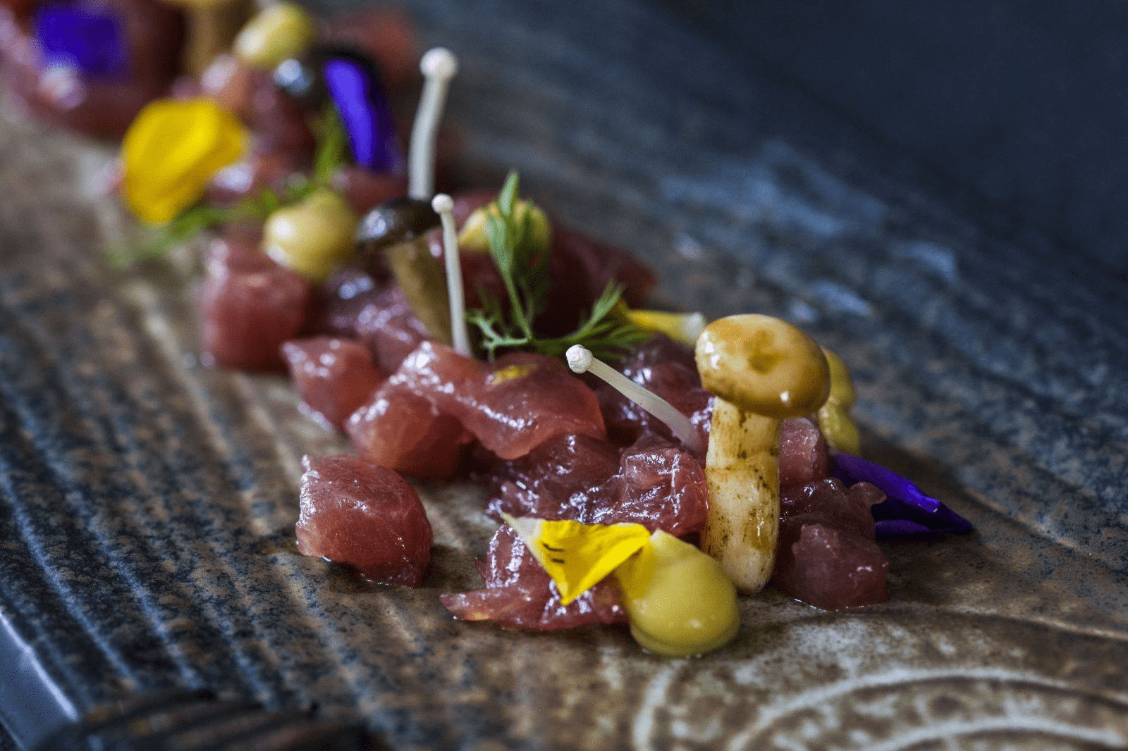 Feb 2018 cafes and restaurants (41) - Shard Restaurant & Bar Tuna Tartare with Soya Dressing and Mushrooms