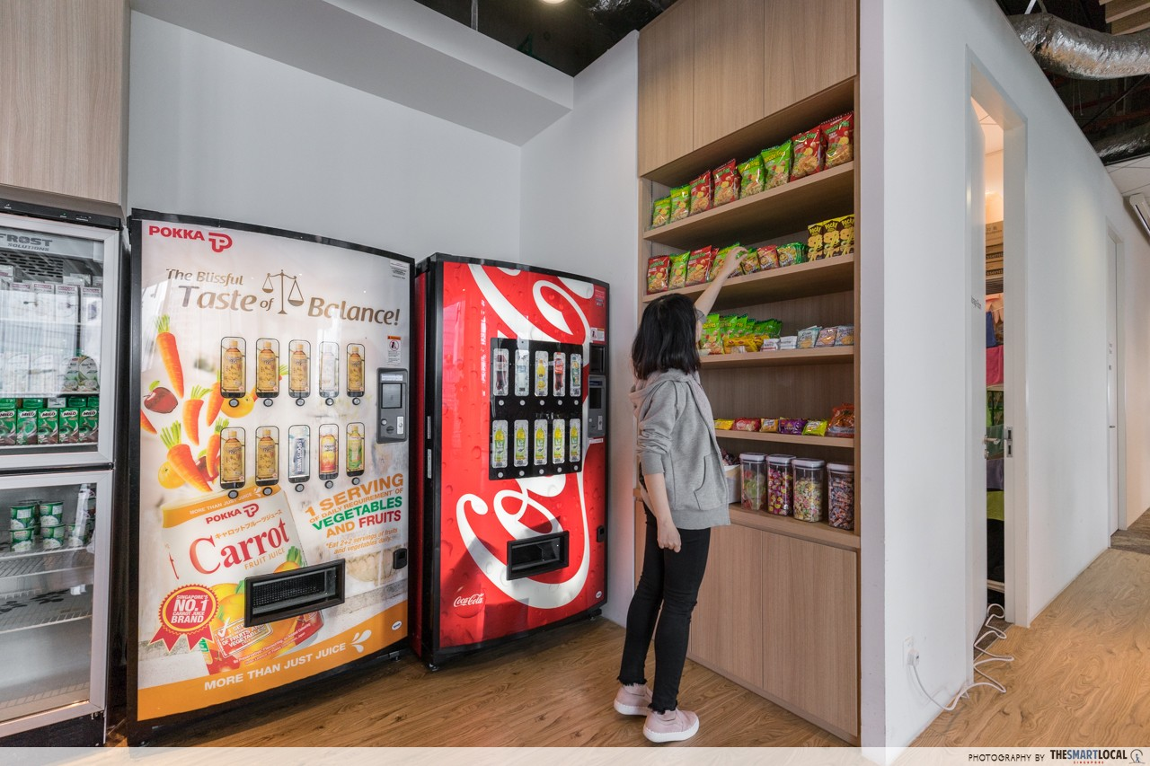 rakuten office singapore pantry free drinks vending machine snacks
