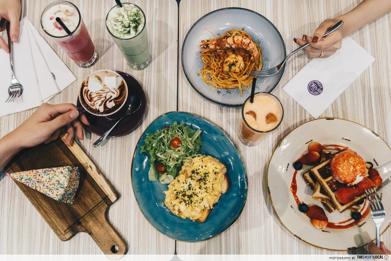 Olivia and Co Iced Rose Latte, Green Matcha Milkshake,Tiger Truffle Prawn Pasta, C++ Fresh Juice, Rock & Rolla Waffles, Crabmeat and Scrambled Eggs, Rainbow Cake and Hot Chocolate
