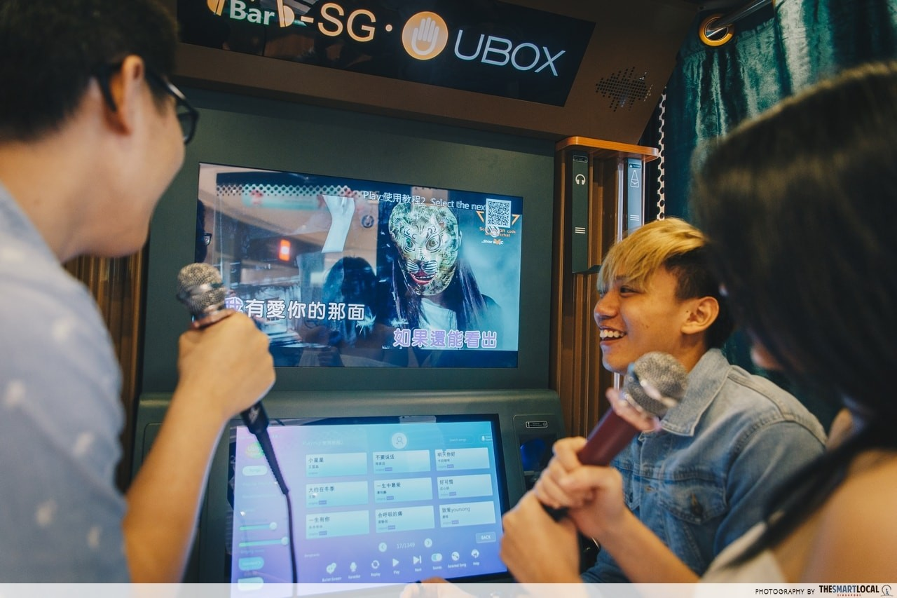 Sing in a box at Mbar.SG Mini-Ktv Suntec city - screen lyrics