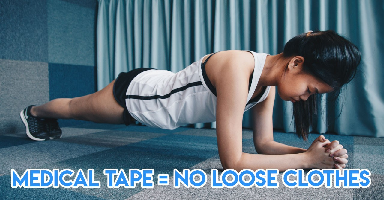 loose shirt gym hack micropore tape