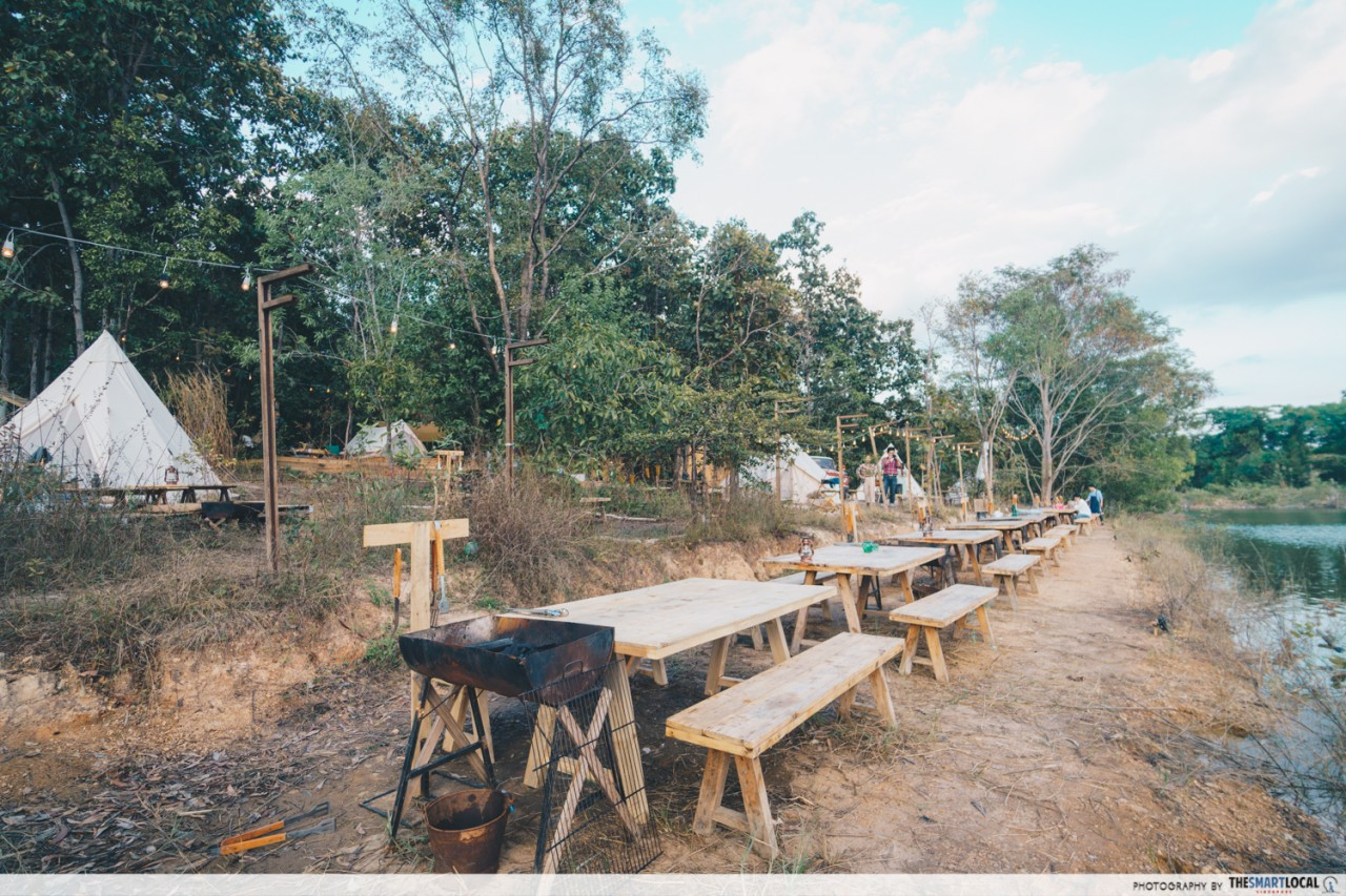 Camp Meating - Wooden tables