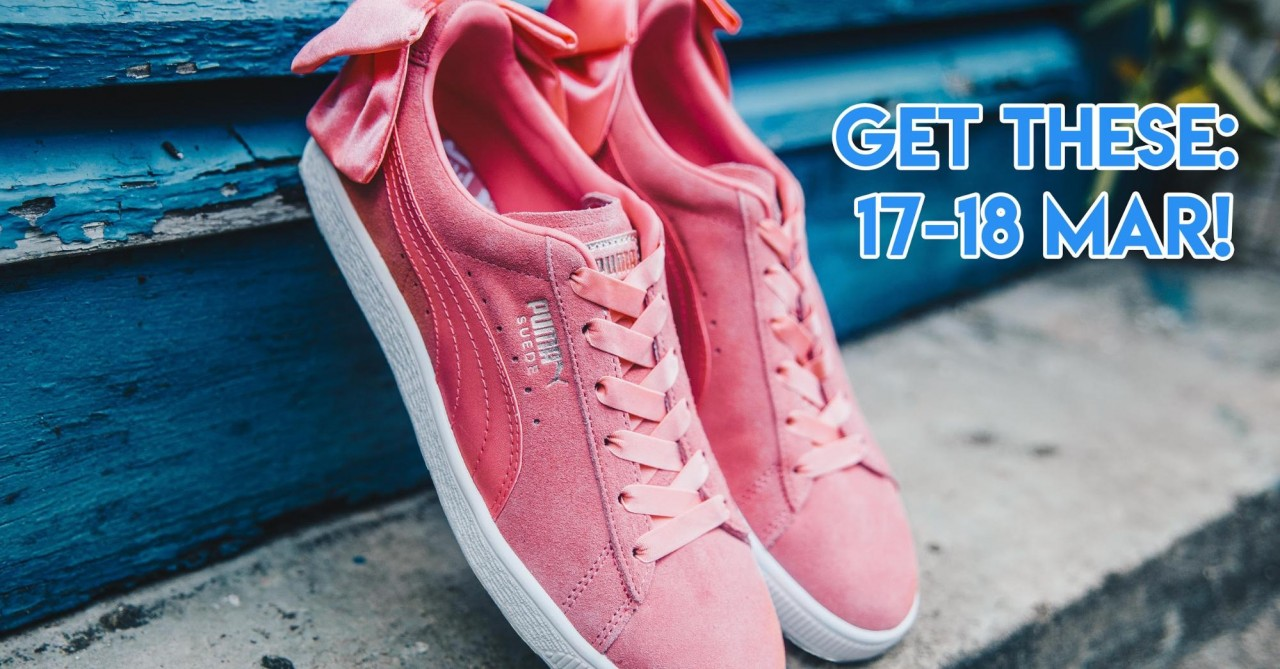 PUMA - shell pink suede bows