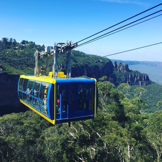 Taking the Scenic Skyway past Katoomba Falls and the Three Sisters