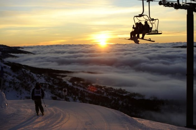 Skiing during sunset at Thredbo