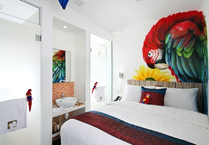 Hotels near clubs - parrot and sunflower design