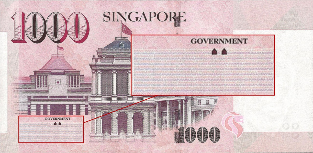 singapore thousand dollar note microprint