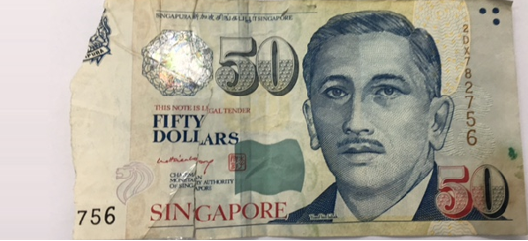 singapore damaged note