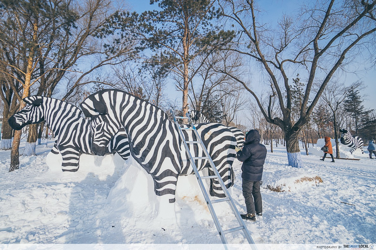 Harbin Snow Exhibition - zebra sculpture