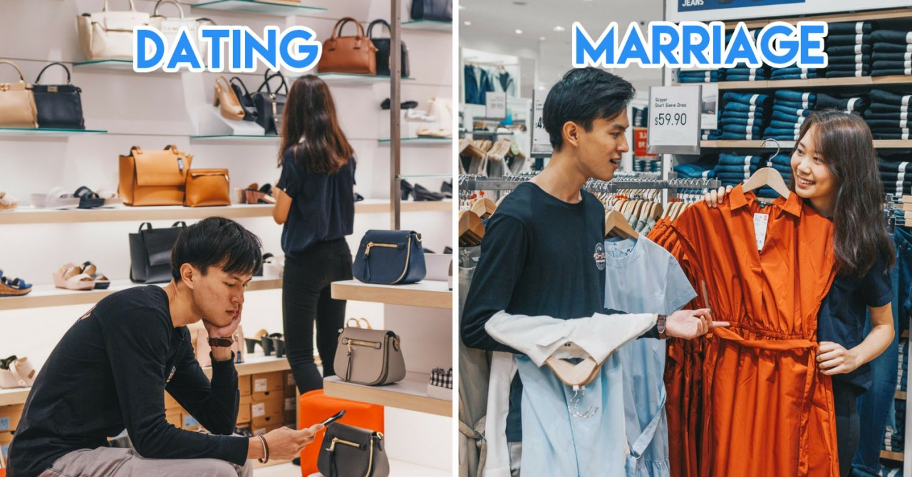 dating vs marriage shopping boyfriend bench