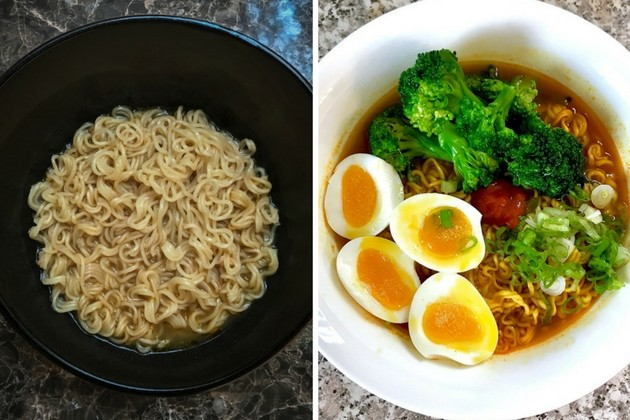 instant noodles plain vs with ingredients