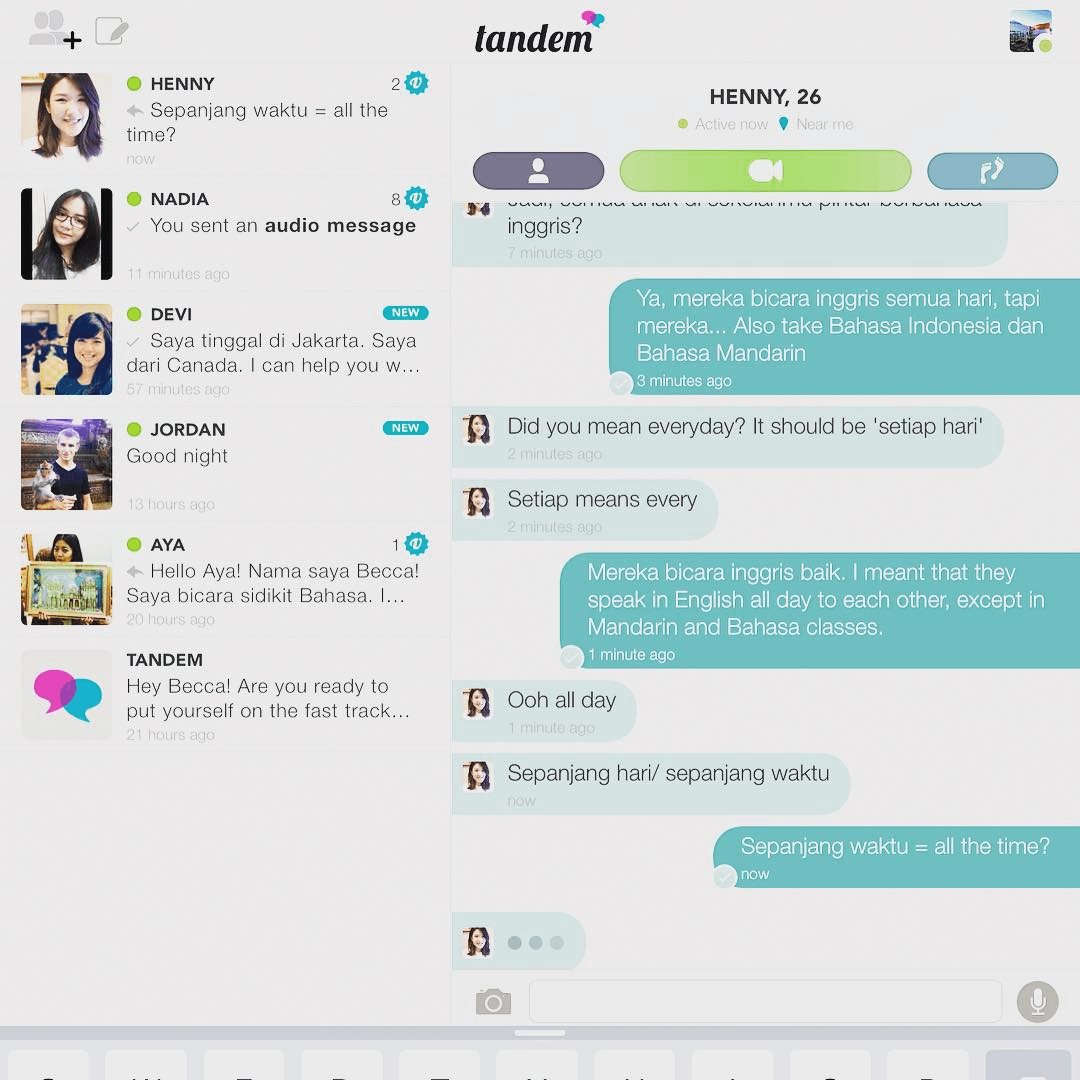 chatting on language exchange app - tandem