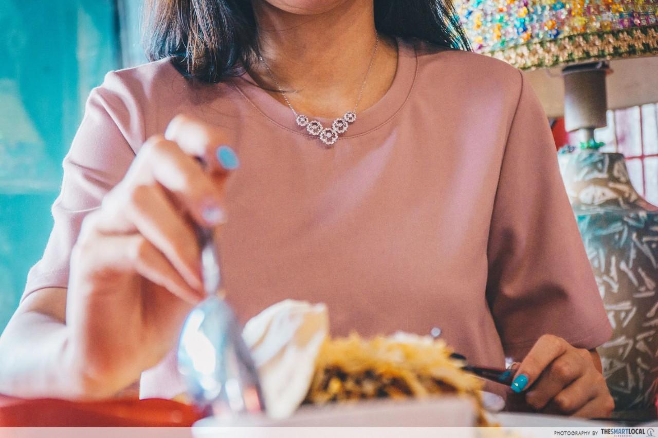 Getting dressed up with Swarovski jewllery for Islamic Restaurant