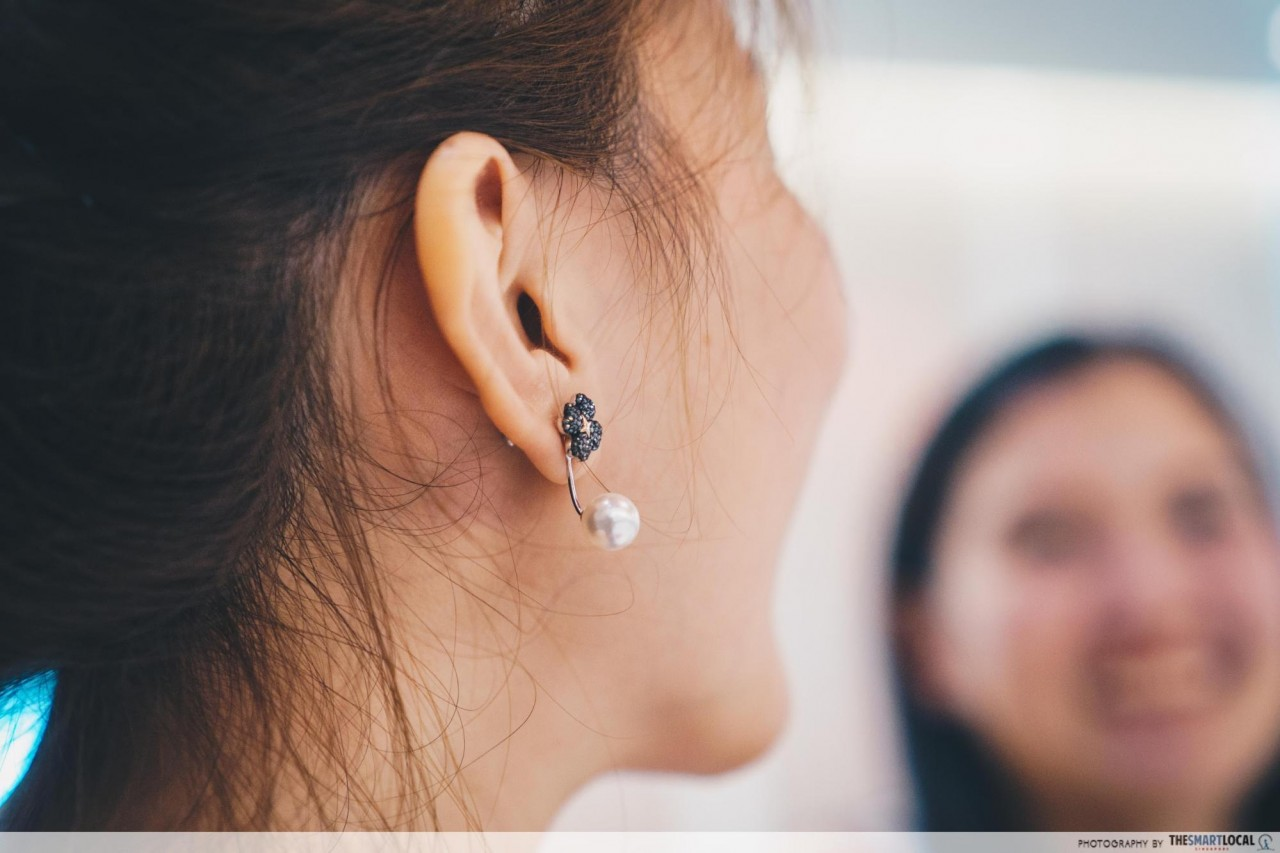 Wearing Swarovski's Latisha Pierced Earring Jackets