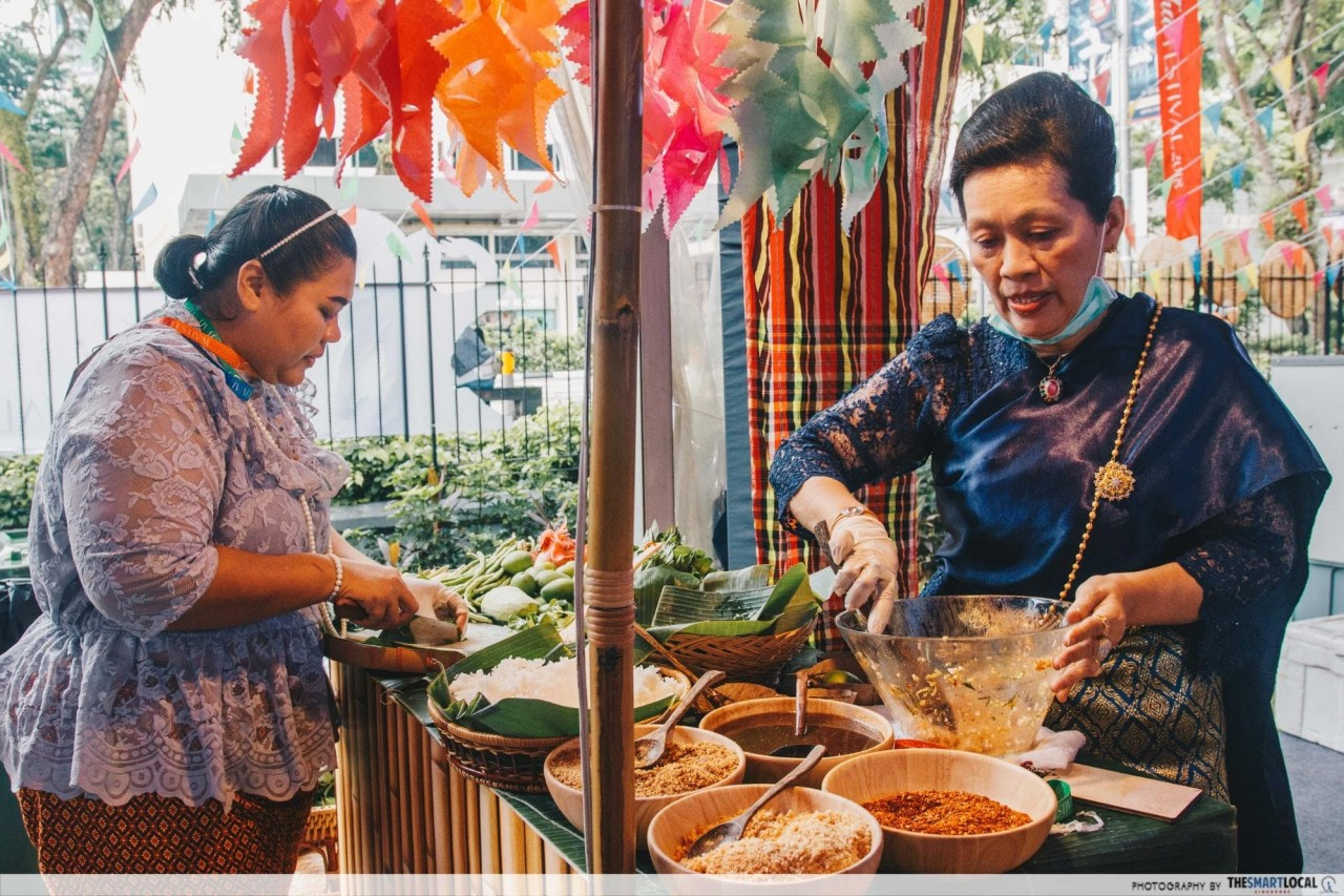 preparing khao yam - southern thai rice salad