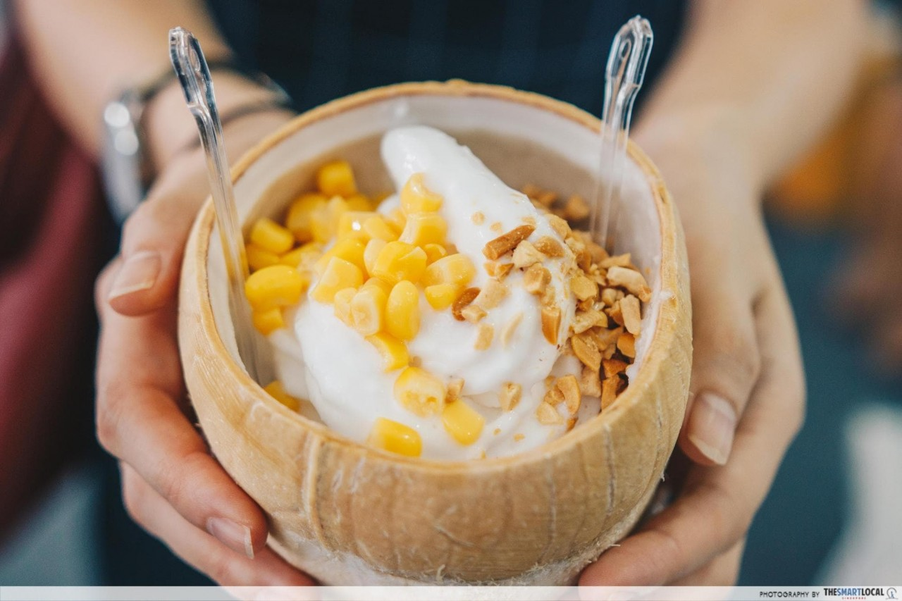 siam coconut - coconut soft serve with corn and peanuts