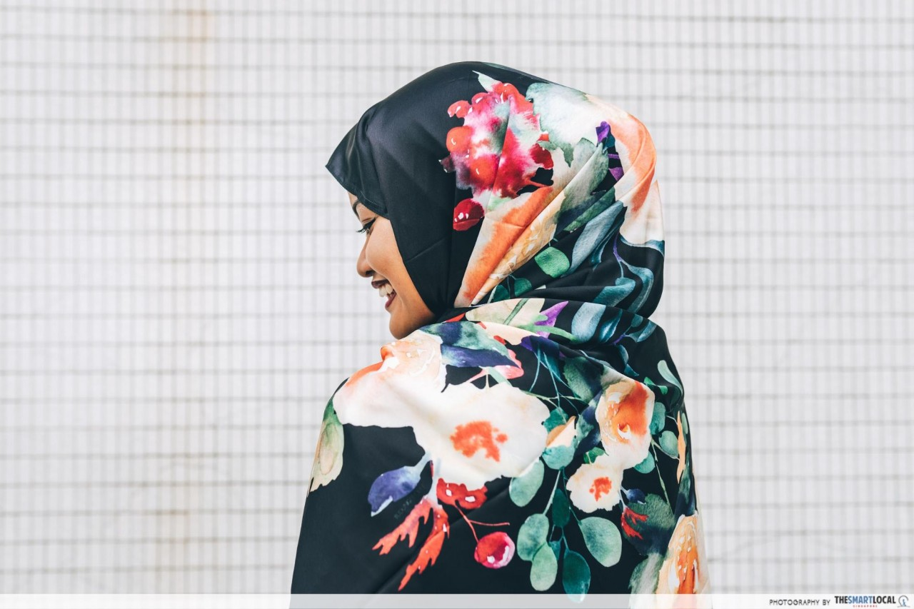 FashionValet - black shawl with bright floral prints