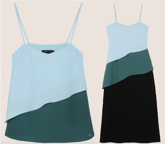 A|X Armani Exchange - tiered colourblock camisole