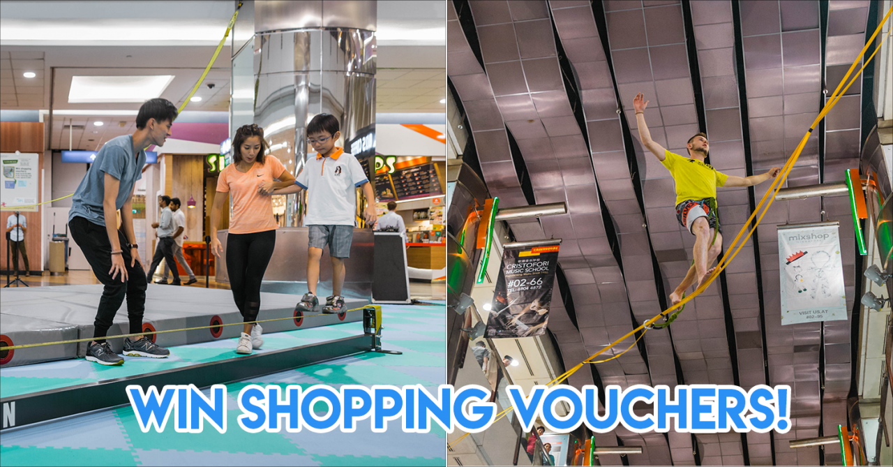 Singapore's first indoor slackline event in a mall