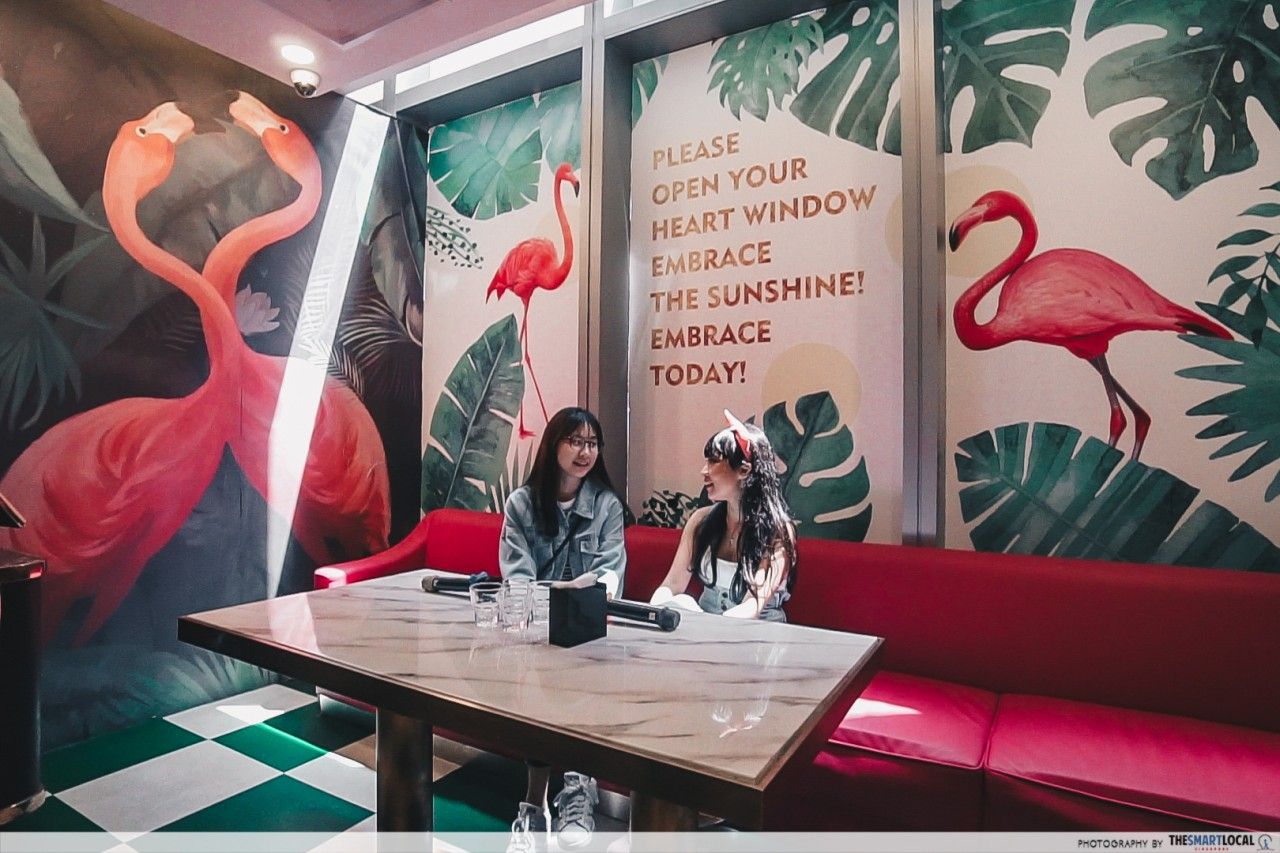 K*STAR Karaoke Singapore flamingo themed room