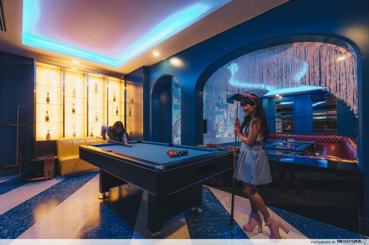 K*STAR Karaoke Singapore pool table VIP room
