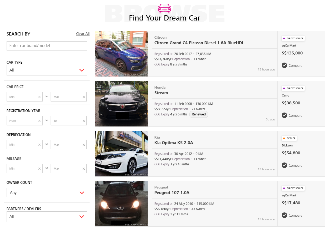 DBS car marketplace - buy or sell a car