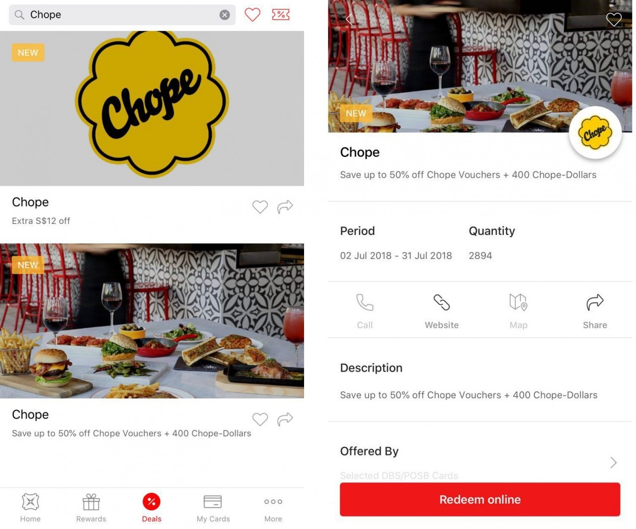 Chope discounts on the DBS Lifestyle app