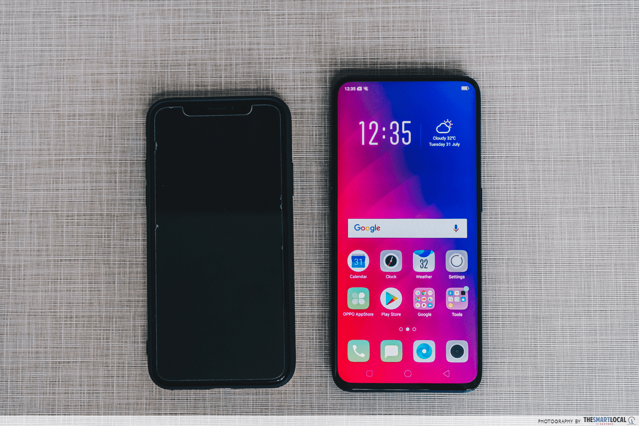 oppo find x size comparison