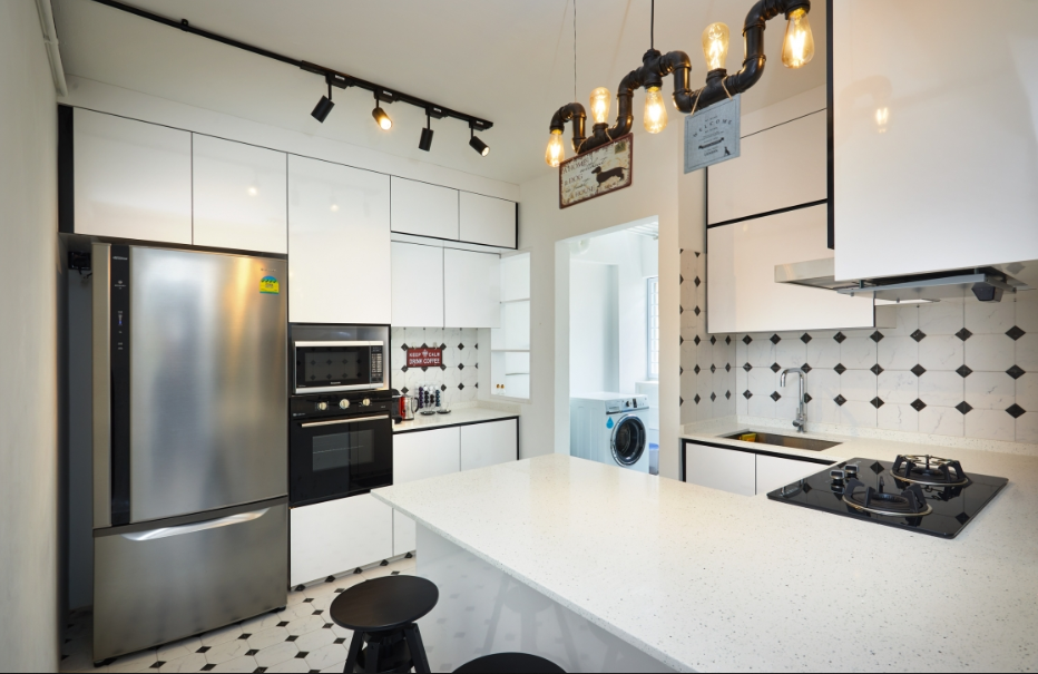 fun monochrome black and white kitchen