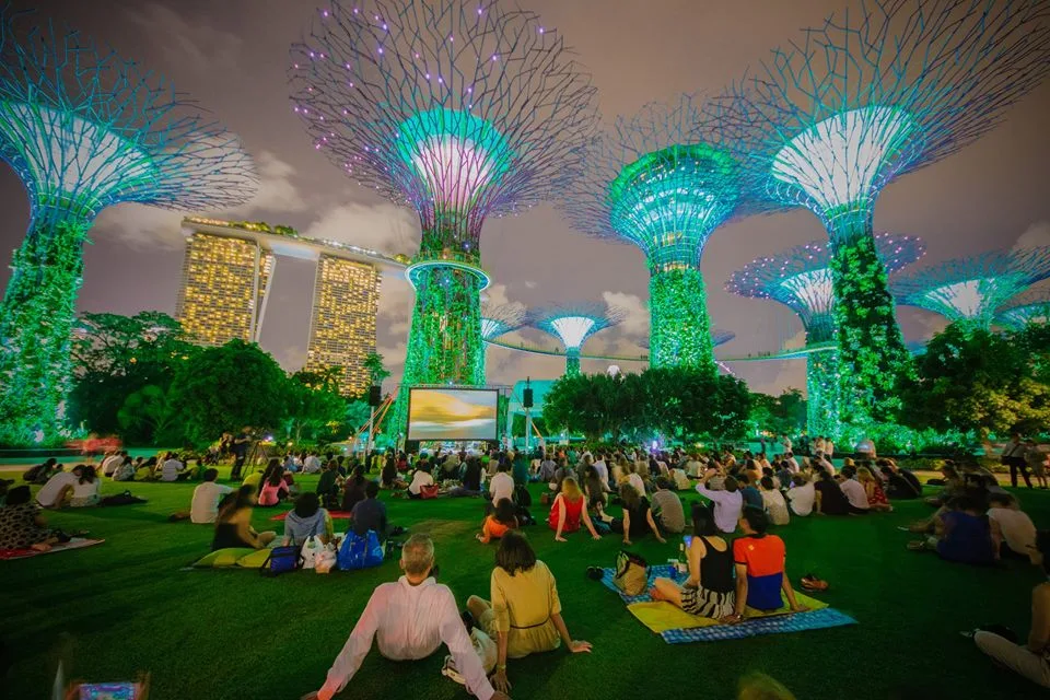 Neon Jungle Gardens by the Bay - moonlight cinema supertree grove lawn stars