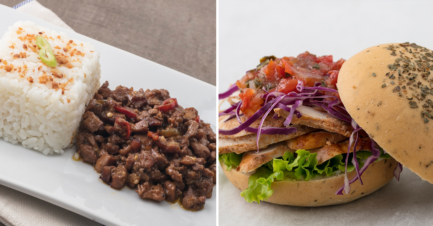 chicken sisig and grilled chicken burger with herb