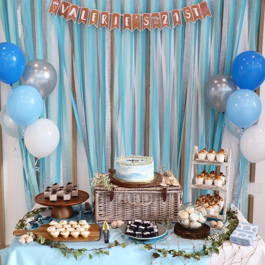 blue dessert table