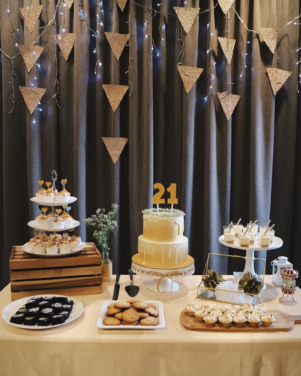 dessert table with cake