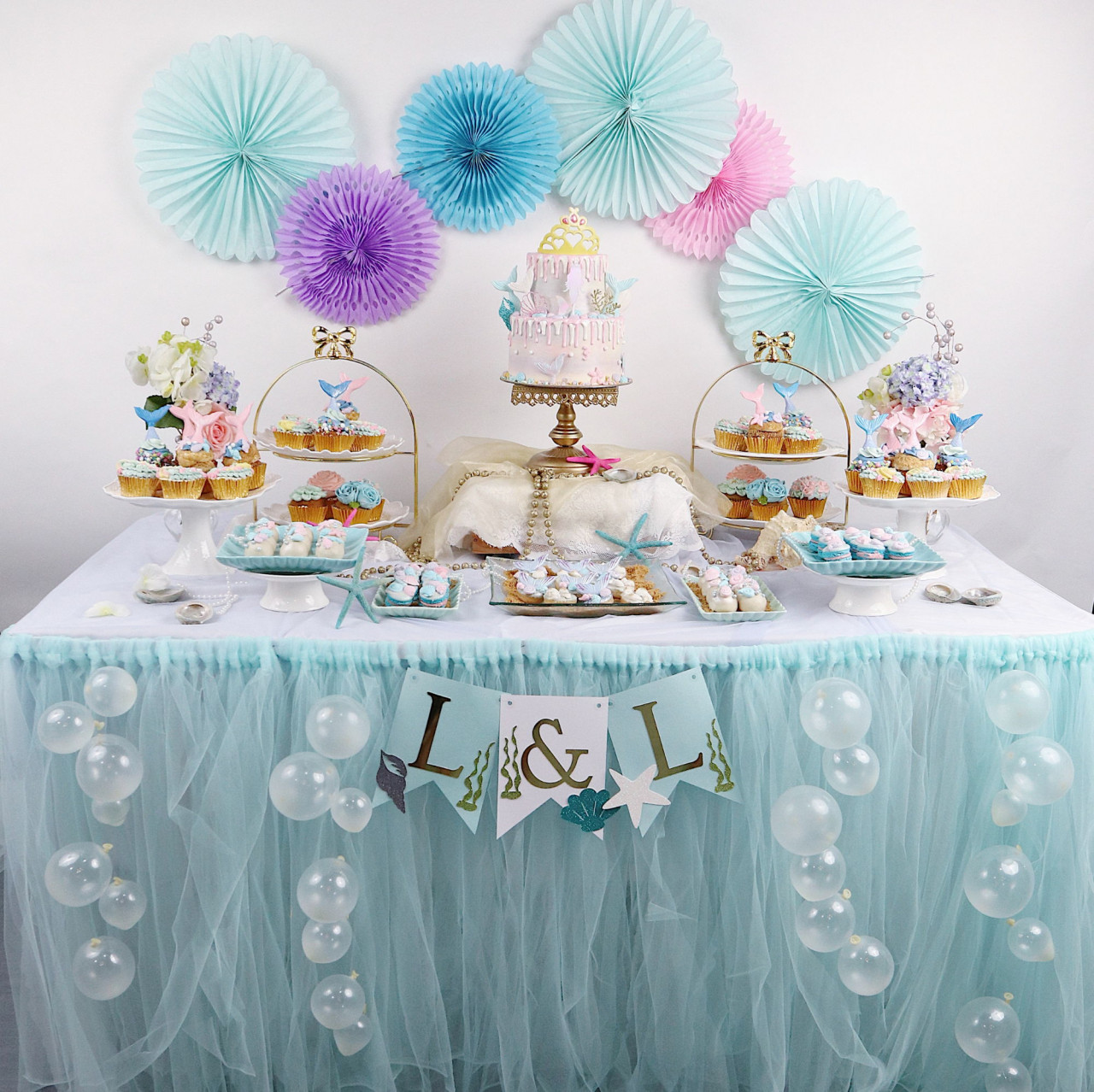 mermaid dessert table birthday